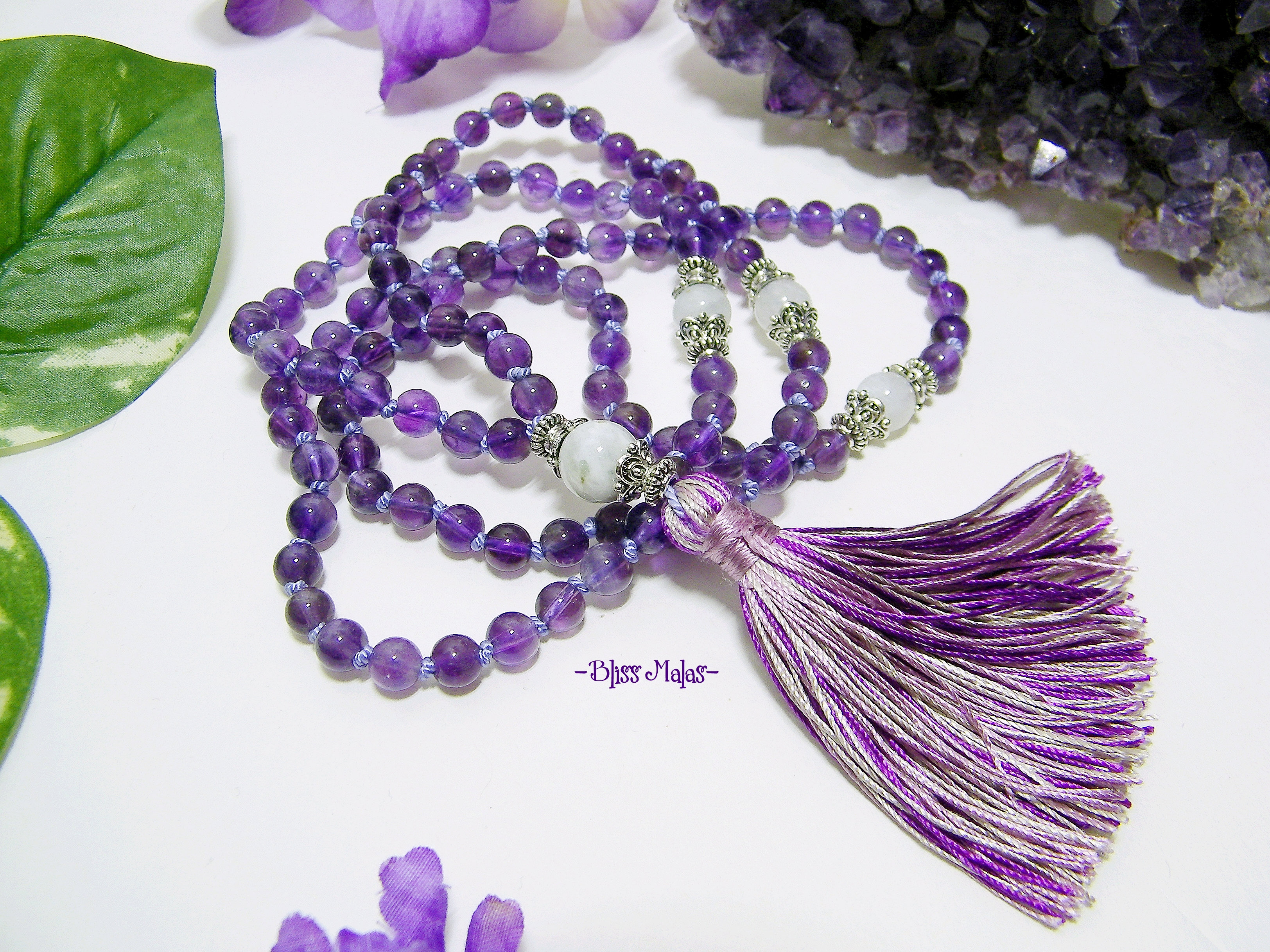 Mother of Pearl Quartz; Handmade Knotted; 108 x 6mm Gemstone Necklace; Purple MALA PRAYER BEADS w Genuine Amethyst