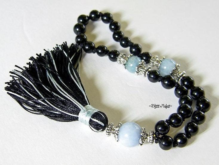 6mm Mini Mala Prayer Beads 27, Yoga, Aquamarine, Black Tourmaline, Spiritual