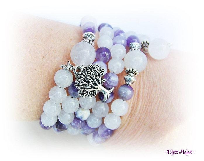 Memory Wire Mala Bracelet 108, Chevron Amethyst, White Jade, Tree of Life Charm
