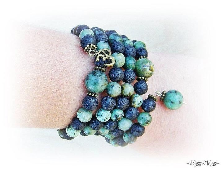 Memory Wire Mala Bracelet 108, African Turquoise, Black Lava Rock, AUM OM Charm
