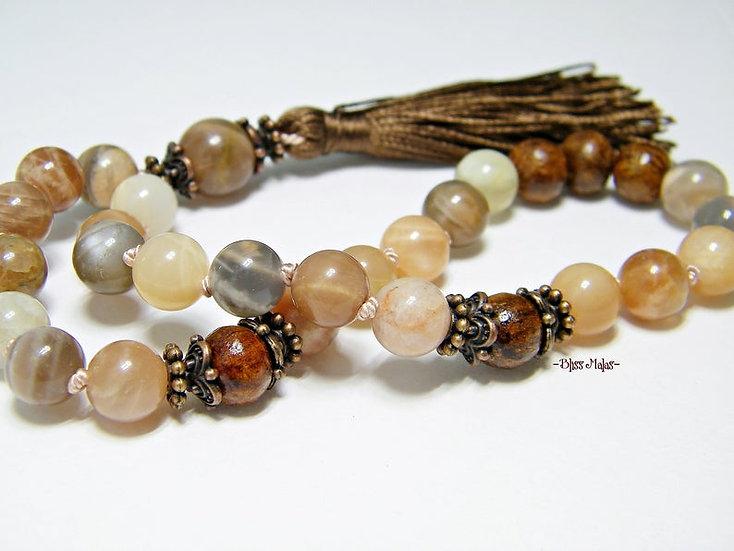 Mini Mala Prayer Beads 27, Yoga, Sunstone, Indian Rosewood Dalbergia Sissoo