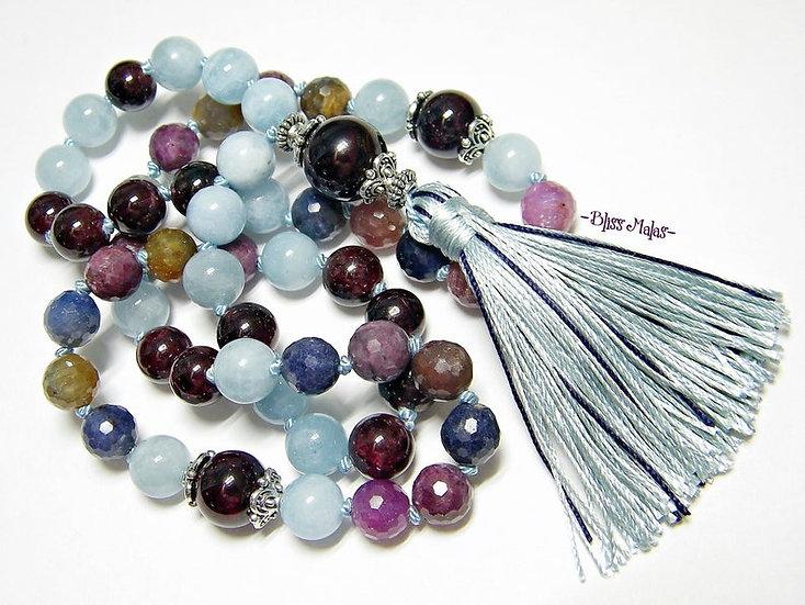 Mala Prayer Beads 54, Half Size, Precious Sapphire Corundum, Aquamarine, Garnet