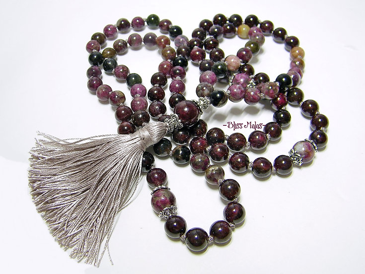 Mala Beads 108 Knotted, Tourmaline Multi, Garnet, Yoga, Meditation