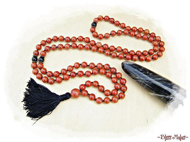 Mala Beads 108, Red Jasper, Black Onyx, Yoga Prayer Beads