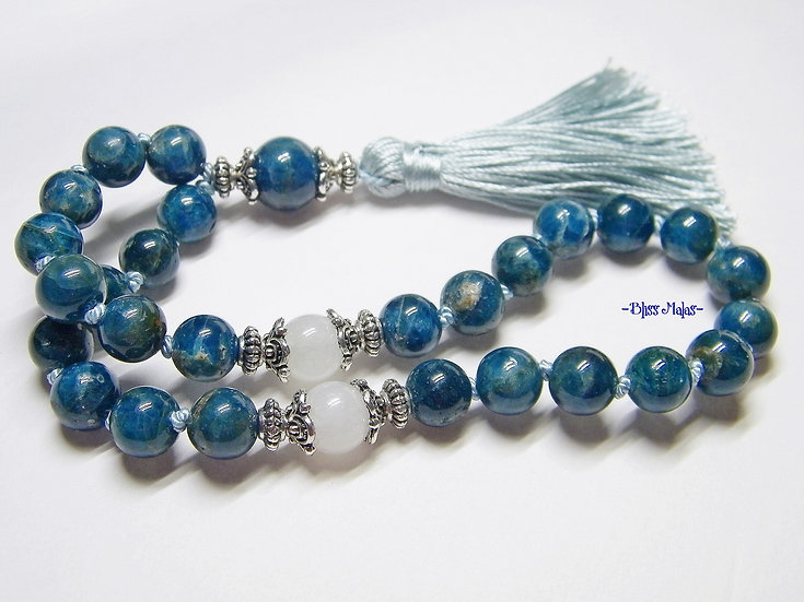 Mini Mala Prayer Beads 27, Apatite, Rainbow Moonstone, Yoga, Meditation Beads