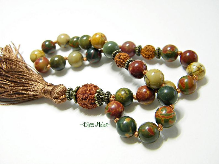 Mini Mala Prayer Beads 27, Picasso Jasper, Rudraksha 5 Mukhi, Travel Yoga Beads