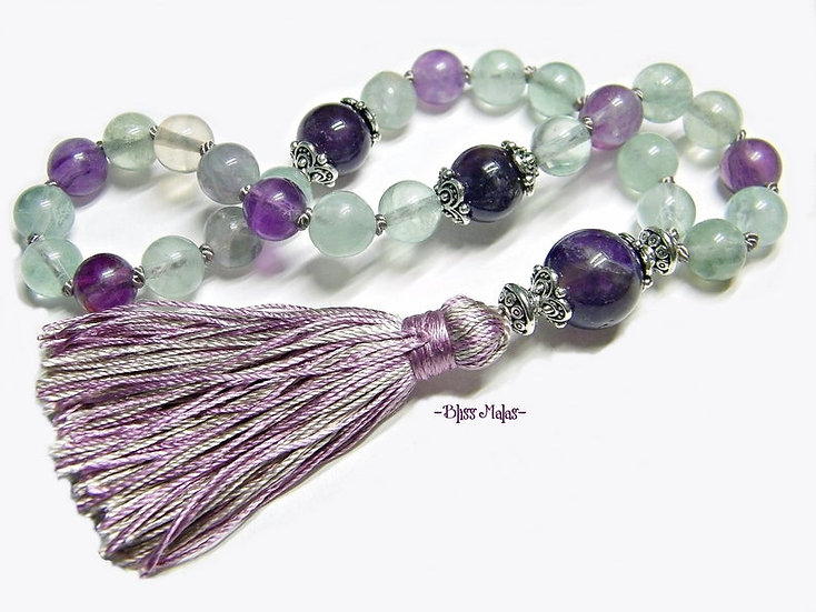 Mini Mala Prayer Beads 27, Pocket Travel Size, Rainbow Fluorite, Amethyst, Yoga