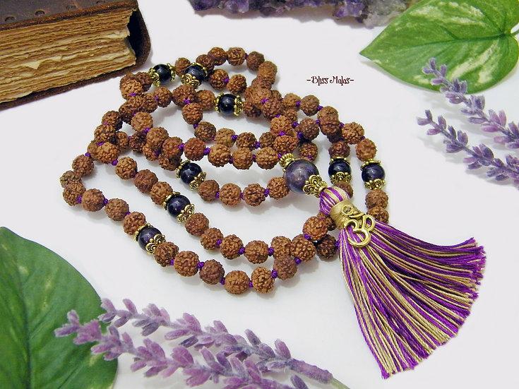 Mala Prayer Beads 108, Rudraksha 5 Mukhi, Amethyst, Kriya Yoga