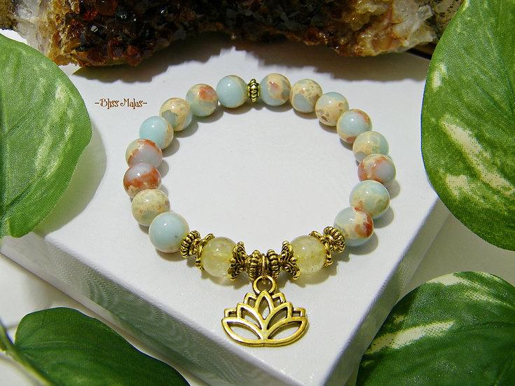 Golden Enlightened Lotus Blossom Stretch Bracelet, African Opal, Citrine, Mala