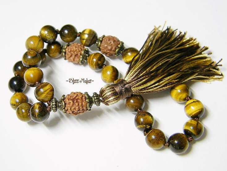 Mini Mala Prayer Beads 27, Yoga Jewelry, Tiger Eye, Rudraksha, Wrist Mala