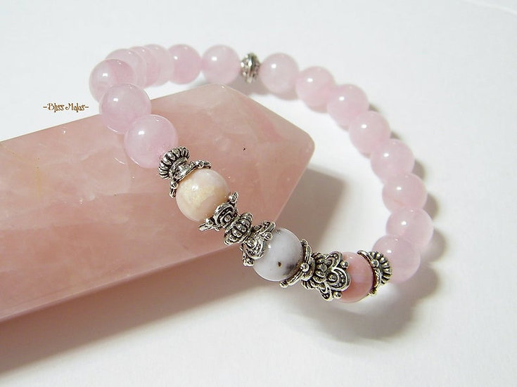 Yoga Stretch Bracelet, Mala Bracelet, Chakras, Pink Peruvian Opal, Rose Quartz