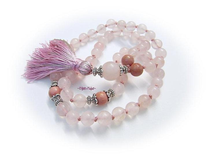 Mala Prayer Beads 54, Half Size, Rose Quartz, Rhodochrosite, Yoga, Mantra, Japa