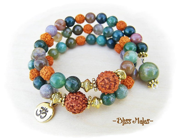 Memory Wire Mala Bracelet 54, India Agate, Rudraksha, Wrist Mala, Prayer Beads