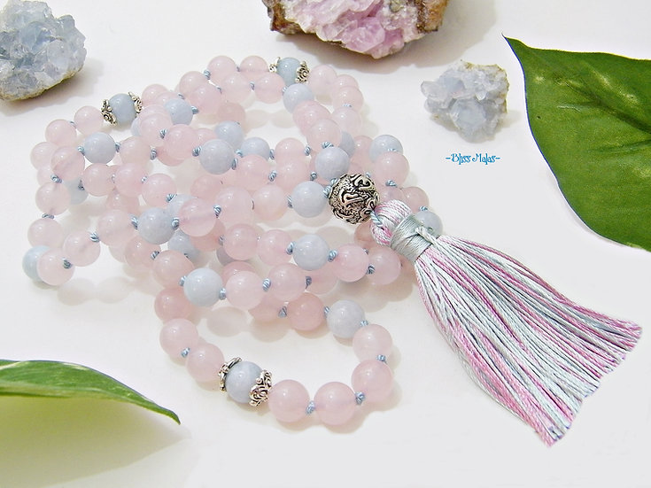 Mala Prayer Beads 108, Rose Quartz, Aquamarine, Yoga Beaded Necklace