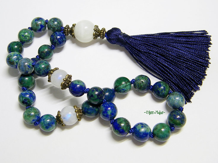 Mini Mala Beads 27, Azurite Malachite, Rainbow Moonstone, Travel Mala, Yog