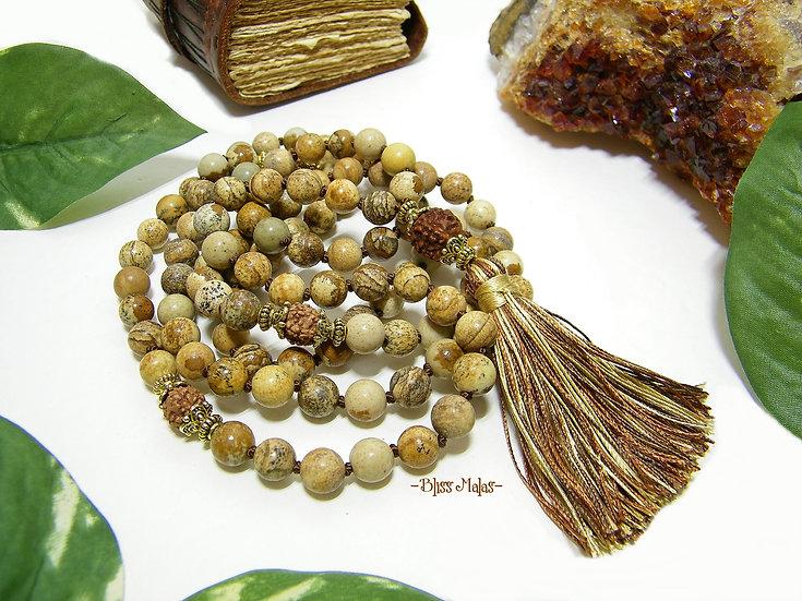 Mala Prayer Beads 108, Picture Jasper, Five Face Rudraksha, Yoga Meditation