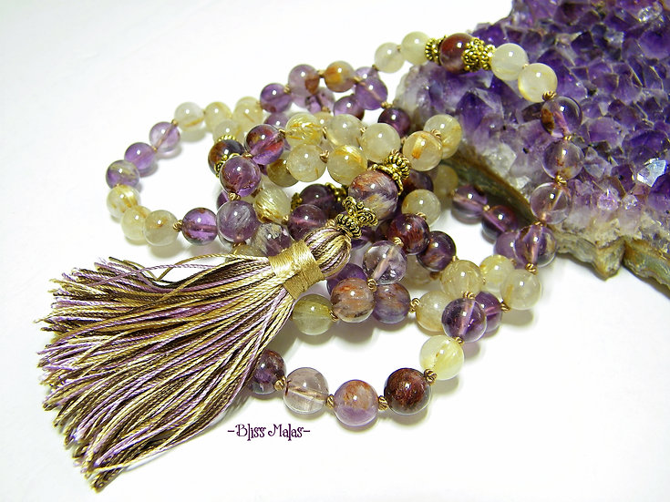 Mala Beads 108 Knotted, Super 7 Seven, Melody Stone, Golden Rutilated Quartz