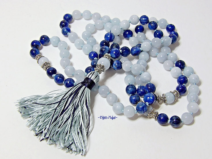 Mala Prayer Beads 108 Knotted, Kyanite, Aquamarine, Yoga Beads, Japa, Meditation
