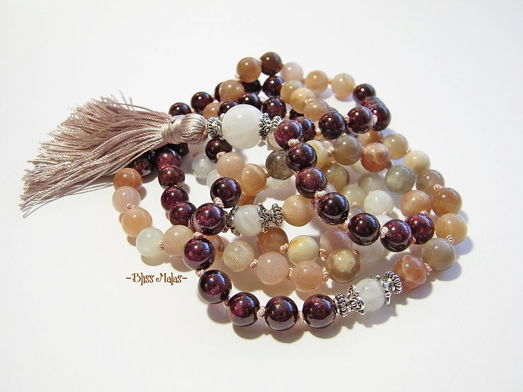 Mala Prayer Beads 108, Peach Moonstone, Rainbow Moonstone, Garnet
