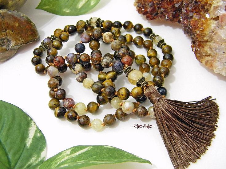Mala Prayer Beads 108, Knotted, Pietersite, Tiger's Eye, Citrine, Yoga, Meditate