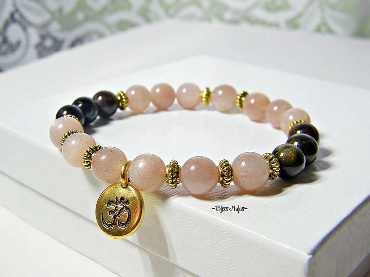 Yoga Stretch Bracelet, Peach Moonstone, Tourmaline, Mala Bracelet
