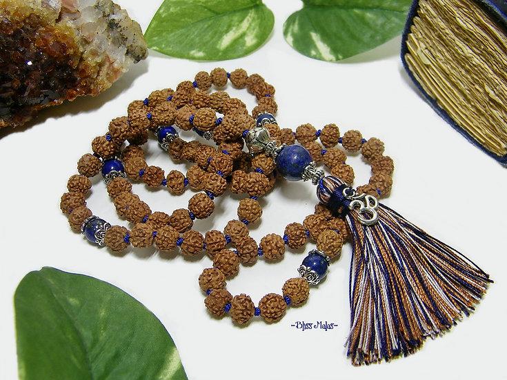 Mala Prayer Beads 108, Rudraksha 5 Mukhi, Lapis Lazuli, Kriya Yoga