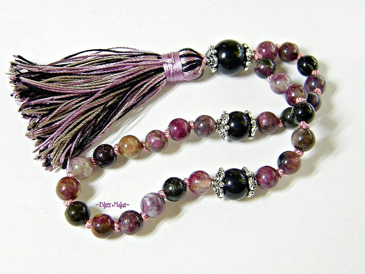 6mm Mini Mala Prayer Beads 27, Chinese Tourmaline, Black Tourmaline, Yoga, Japa