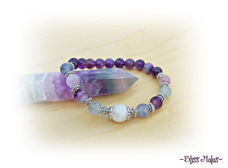 Yoga Stretch Bracelet, Mala Bracelet, Rainbow Moonstone, Fluorite, Amethyst