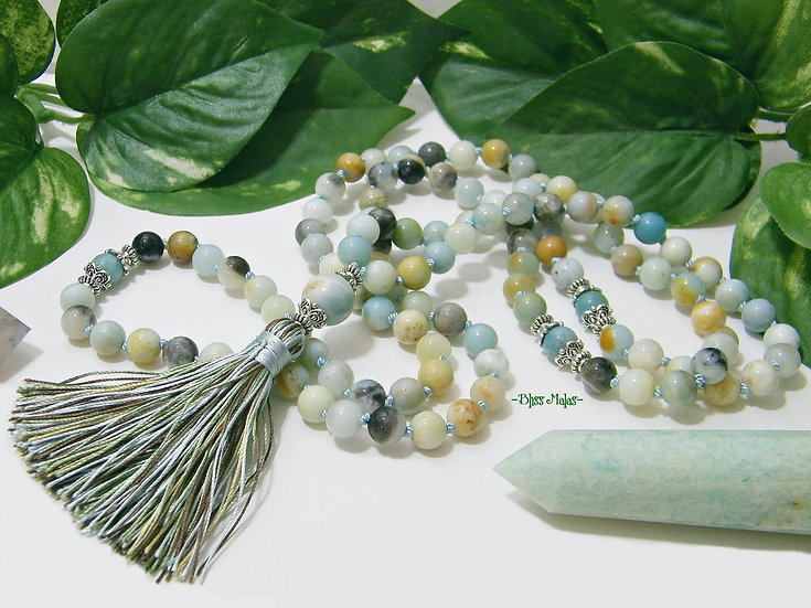 Mala Prayer Beads 108, Amazonite, Yoga Beads, Heart and Throat Chakra, Calm