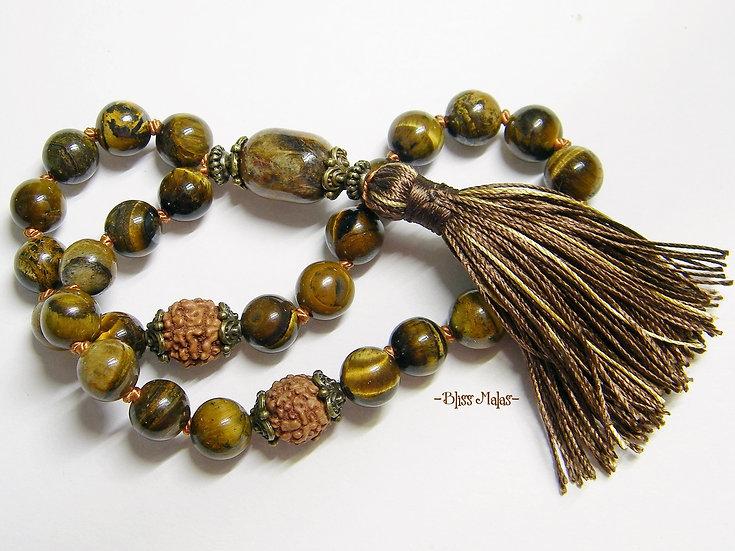 Mini Mala Beads 27, Pietersite, Tiger's Eye, Rudraksha 5 Mukhi, Travel Size