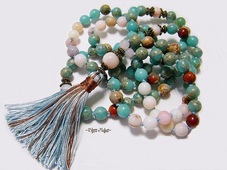 Mala Prayer Beads 108, Pink Peruvian Opal, Aqua Terra Jasper, Rose Quart