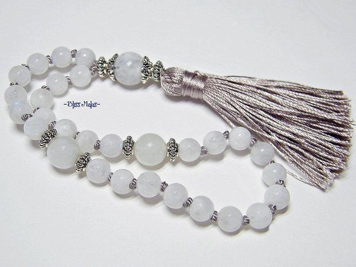 6mm Mini Mala Prayer Beads 27, Rainbow Moonstone Grade A India, Yoga Jewelry