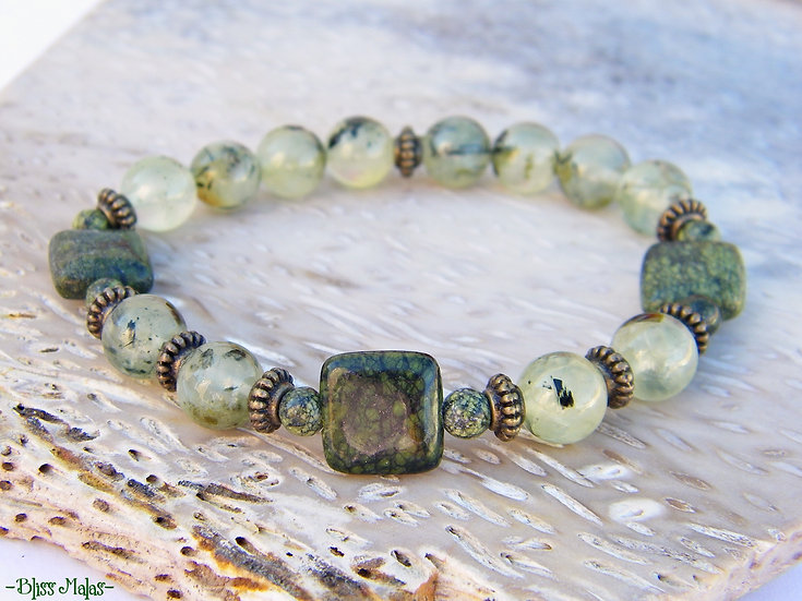 Serpentine, Prehnite, Beaded Stretch Bracelet, Yoga Prayer Beads Bracelet
