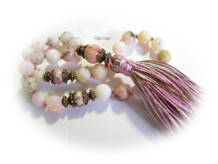Mini Mala Prayer Beads 27, Rhodochrosite, Pink Peruvian Opal, Yoga, Meditation