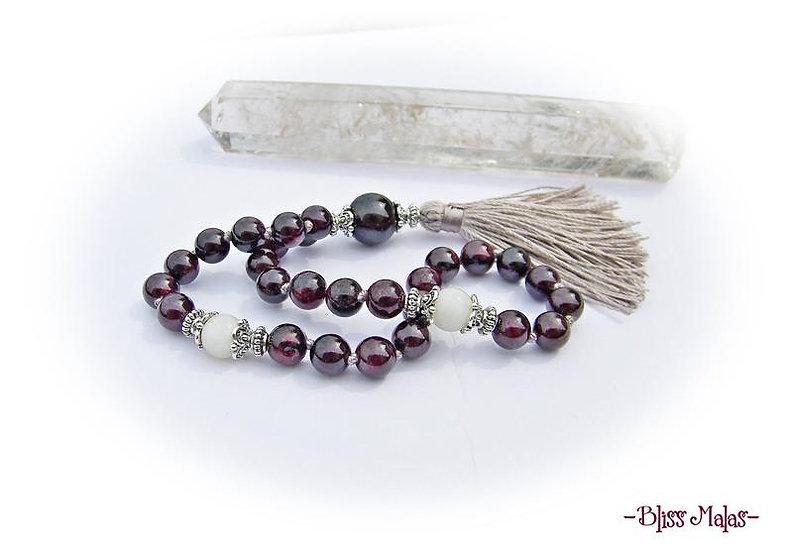 Mini Mala Prayer Beads 27, Garnet, Rainbow Moonstone, Spiritual Yoga Meditation