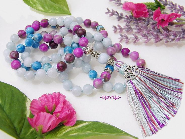 Enlightened Lotus Mala Prayer Beads 108, Sugilite, Apatite, Aquamarine, Charm