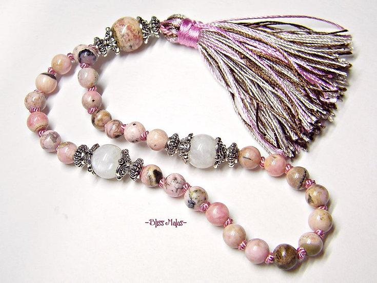 6mm Mini Mala Beads 27, Yoga, Rhodochrosite, Rainbow Moonstone, Meditation