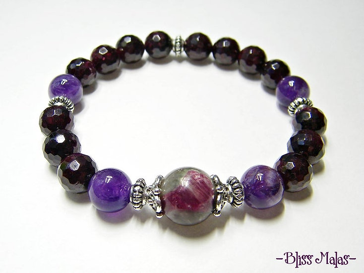 Yoga Stretch Bracelet, Mala Bracelet, Tourmaline, Garnet, Amethyst, Gemstones