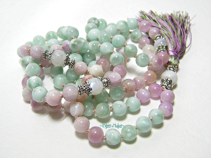 Mala Prayer Beads 108, Kunzite, Green Moonstone, Rainbow Moonstone