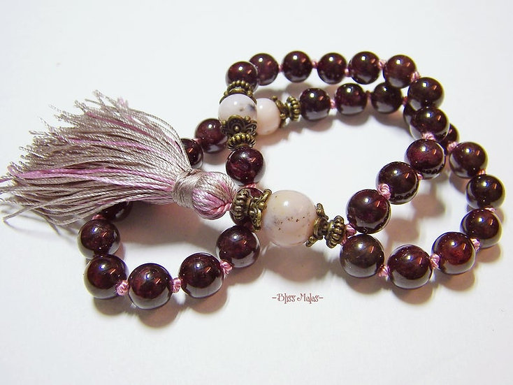Mini Mala Beads 36, 8mm Knotted, Garnet, Pink Peruvian Opal, Meditation, Kriya