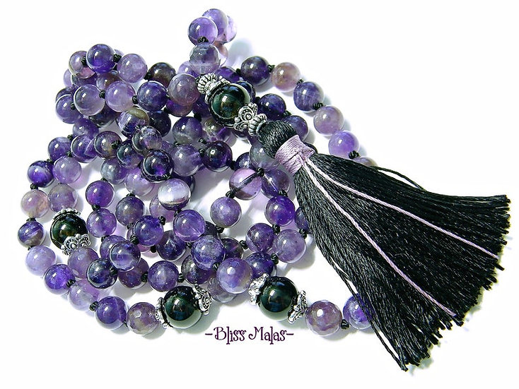 Mala Prayer Beads 108 Knotted, Amethyst, Black Tourmaline, Yoga