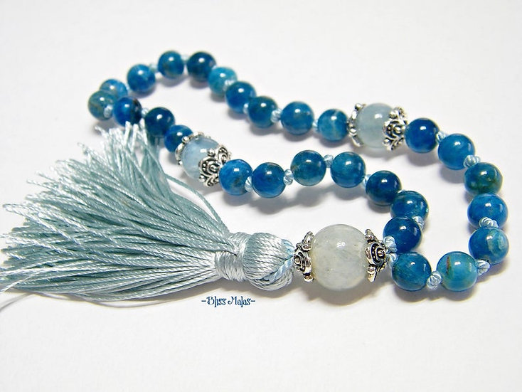 6mm Mini Mala Prayer Beads 27, Apatite, Aquamarine, Blue, Yoga, Meditation, Gift