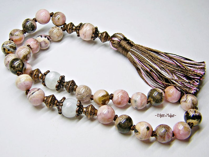 Mini Mala Prayer Beads 27, Yoga, Rhodochrosite, Rainbow Moonstone, Travel Size