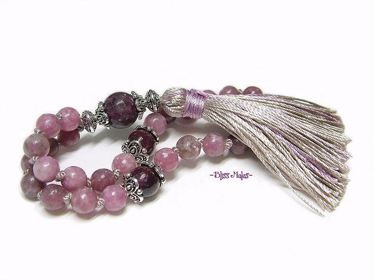 6mm Mini Mala Prayer Beads 27, Lepidolite, Mica, Tourmaline, Rubellite, Yoga