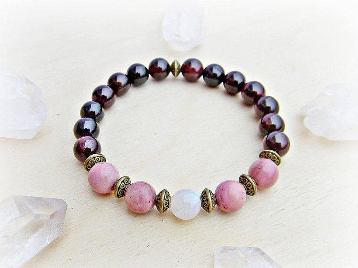 Yoga Stretch Bracelet, Mala Bracelet, Rainbow Moonstone, Rhodochrosite, Garnet