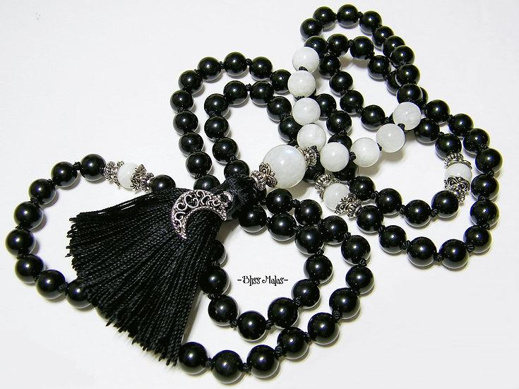 Mala Prayer Beads 108, Black Tourmaline, Rainbow Moonstone, Midnight Moon Charm