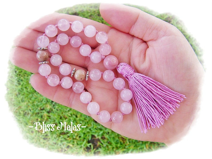 Mini Mala Prayer Beads 27, Rose Quartz, Rhodochrosite, Yoga Beads