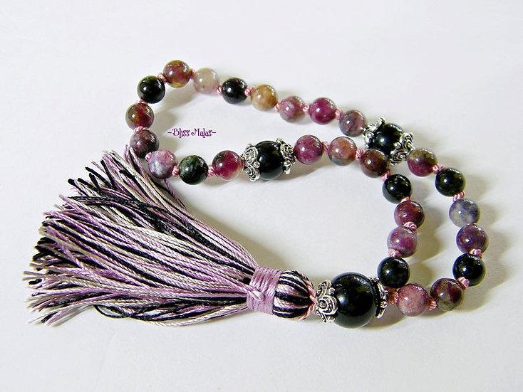6mm Mini Mala Prayer Beads 27, Chinese Tourmaline, Black Tourmaline, Yoga, Japa