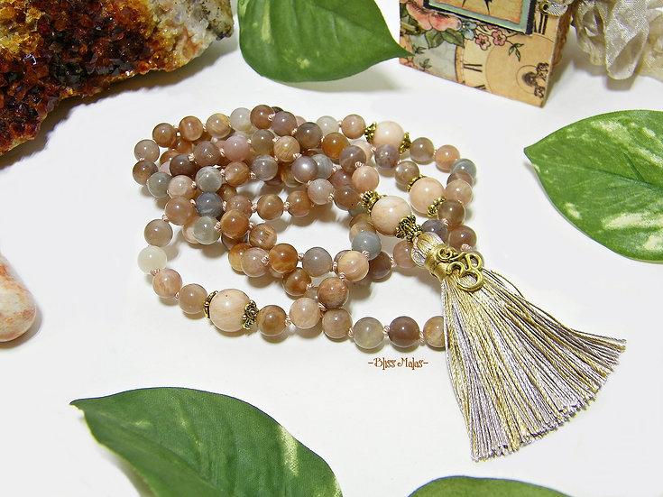 Mala Prayer Beads 108, Sunstone, Yoga Beads, Meditation, Japa, Mantra, Gift