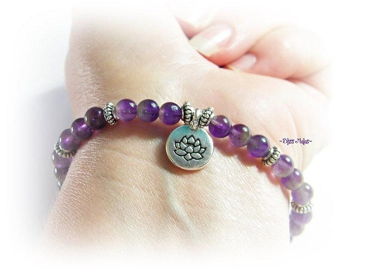 Yoga Stretch Bracelet, Mala Bracelet, Amethyst, Silver Lotus Charm, Meditation